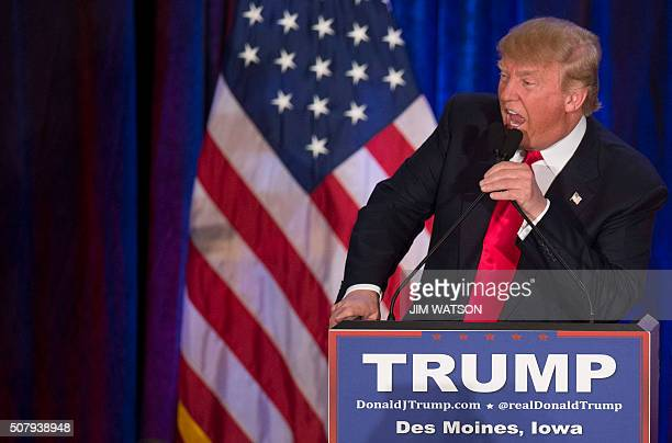 Republican Presidential candidate Donald Trump addresses his supporters after finishing second in the Iowa Caucus in West Des Moines Iowa February 1...