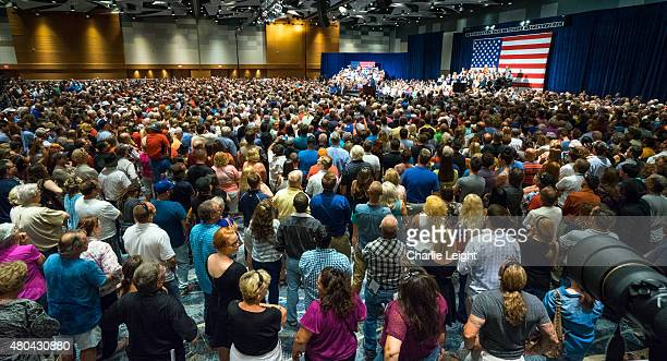 Republican Presidential candidate Donald Trump addresses supporters during a political rally at the Phoenix Convention Center on July 11 2015 in...