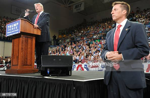Republican presidential candidate Donald Trump addresses the audience during a campaign event at Trask Coliseum on August 9 2016 in Wilmington North...