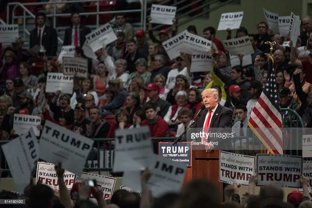 Republican presidential candidate Donald Trump addresses the crowd at a campaign rally March 7 2016 in Concord North Carolina The North Carolina...