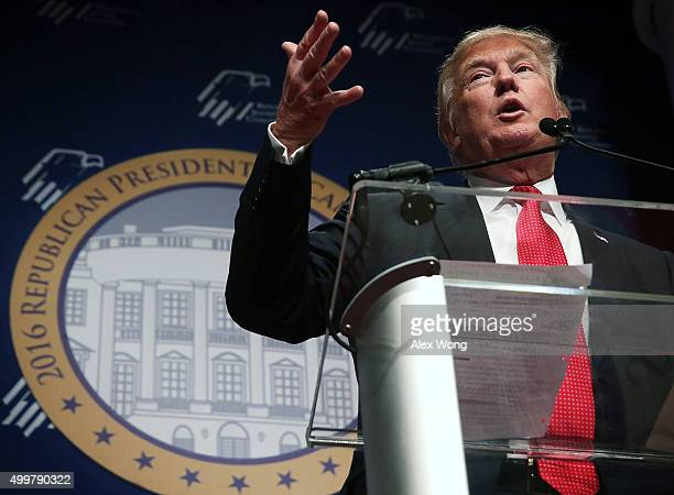 Republican presidential candidate Donald Trump addresses the Republican Jewish Coalition at Ronald Reagan Building and International Trade Center...