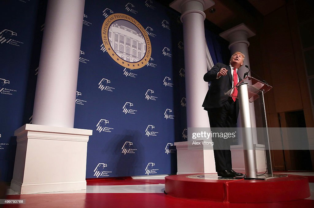 Republican presidential candidate Donald Trump addresses the Republican Jewish Coalition at the Ronald Reagan Building and International Trade Center December 3, 2015 in Washington, DC. Candidates spoke and took questions from Jewish leaders and activists.