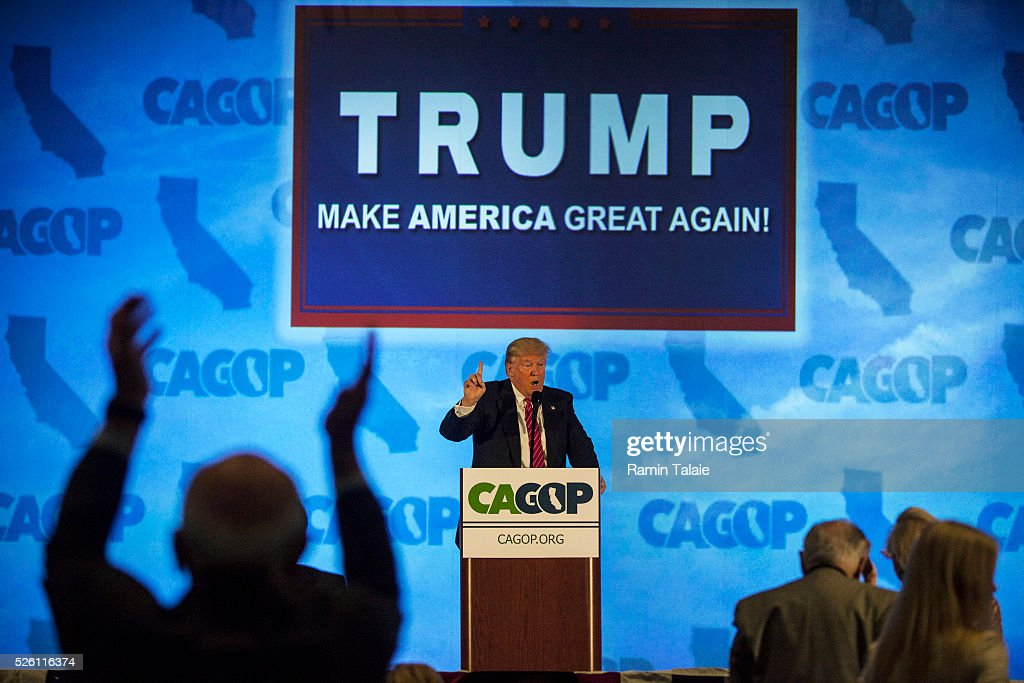 Republican presidential candidate <a gi-track='captionPersonalityLinkClicked' href=/galleries/search?phrase=Donald+Trump+-+Born+1946&family=editorial&specificpeople=118600 ng-click='$event.stopPropagation()'>Donald Trump</a> addresses the California Republican Party Convention on April 29, 2016 in Burlingame, California. Trump is preparing for the California Primary on June 7.