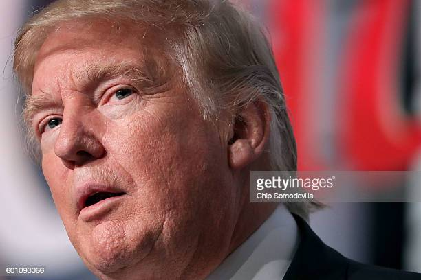 Republican presidential candidate Donald Trump addresses the Values Voter Summit at the Omni Shoreham September 9 2016 in Washington DC Hosted by the...