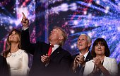 Republican presidential candidate Donald Trump and Indiana Governor Mike Pence look on after they accepted the party nomination on the last day of...