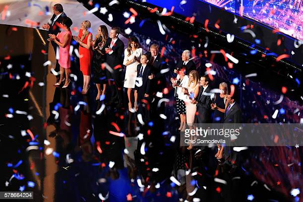 Republican presidential candidate Donald Trump and Republican vice presidential candidate Mike Pence stand with their families at the end of the...