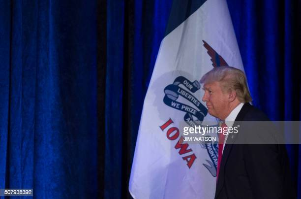 Republican Presidential candidate Donald Trump arrives to address his supporters after finishing second in the Iowa Caucus in West Des Moines Iowa...