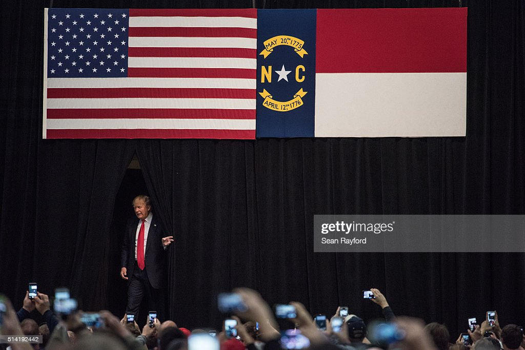 Republican presidential candidate Donald Trump arrives to give a speech at a campaign rally March 7 2016 in Concord North Carolina The North Carolina...