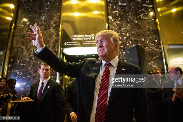 Republican presidential candidate Donald Trump arrives to give a speech outlining his vision for tax reform at his skyscraper on Fifth Avenue on...