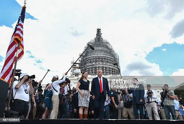 US Republican presidential candidate Donald Trump arrives to speak at a rally organized by the Tea Party Patriots against the Iran nuclear deal in...