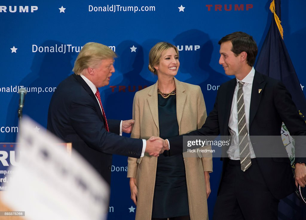 Republican Presidential candidate Donald Trump at a campaign rally at Concord High School with his daughter Ivanka Trump and son in law Jared Kushner...