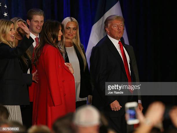 Republican presidential candidate Donald Trump blows a kiss to the crowd after conceding defeat in the Iowa Caucus during his President Caucus Watch...