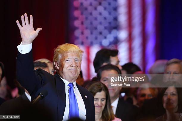 Republican presidential candidate Donald Trump concludes his remarks to supporters and the media at Trump Towers following the conclusion of...