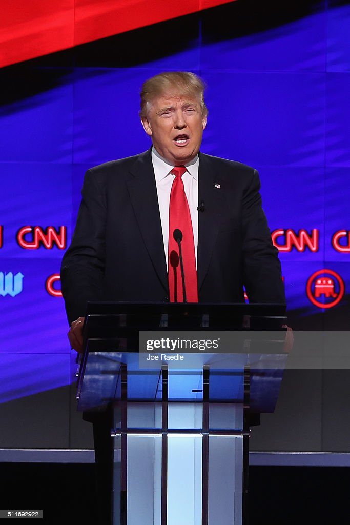 Republican presidential candidate Donald Trump debates against Sen. Marco Rubio (R-FL), Sen. Ted Cruz (R-TX), and Ohio Gov. John Kasich (not seen) during the CNN, Salem Media Group, The Washington Times Republican Presidential Primary Debate on the campus of the University of Miami on March 10, 2016 in Coral Gables, Florida. The candidates continue to campaign before the March 15th Florida primary.