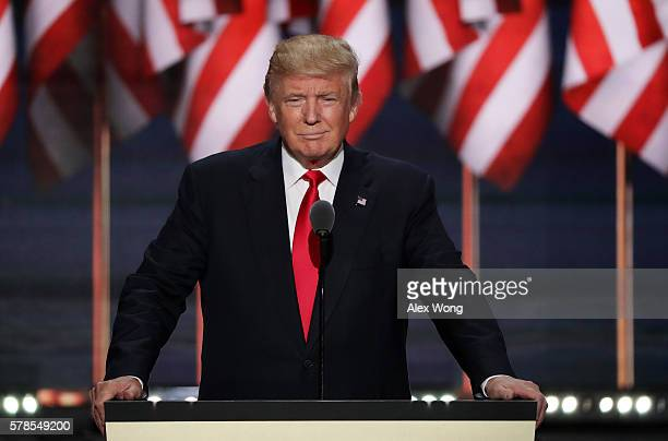 Republican presidential candidate Donald Trump delivers a speech during the evening session on the fourth day of the Republican National Convention...