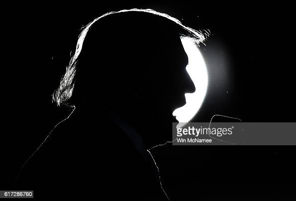 Republican presidential candidate Donald Trump delivers remarks while campaigning at Regent University October 22 2016 in Virginia Beach Virginia The...