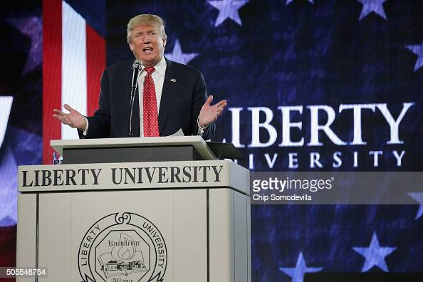 Republican presidential candidate Donald Trump delivers the convocation at the Vines Center on the campus of Liberty University January 18 2016 in...