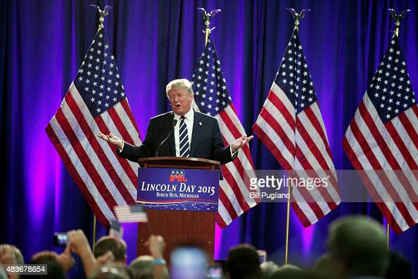 Republican presidential candidate Donald Trump delivers the keynote address at the Genesee and Saginaw Republican Party Lincoln Day Event August 11...