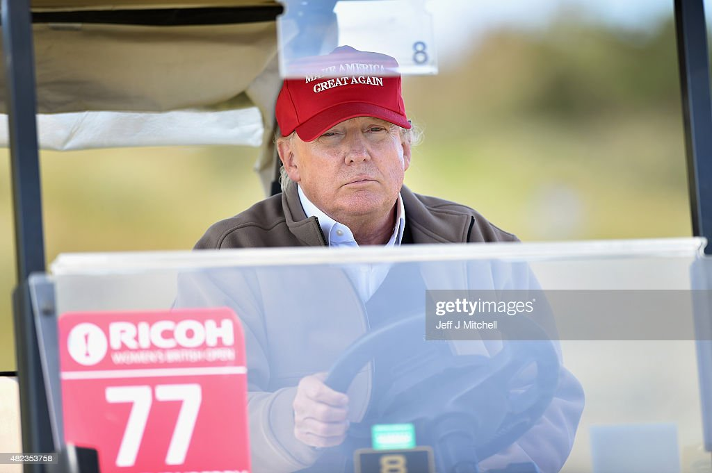 Republican Presidential Candidate Donald Trump Visits His Scottish Golf Course : News Photo