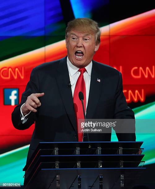 Republican presidential candidate Donald Trump during the CNN Republican presidential debate on December 15 2015 in Las Vegas Nevada This is the last...
