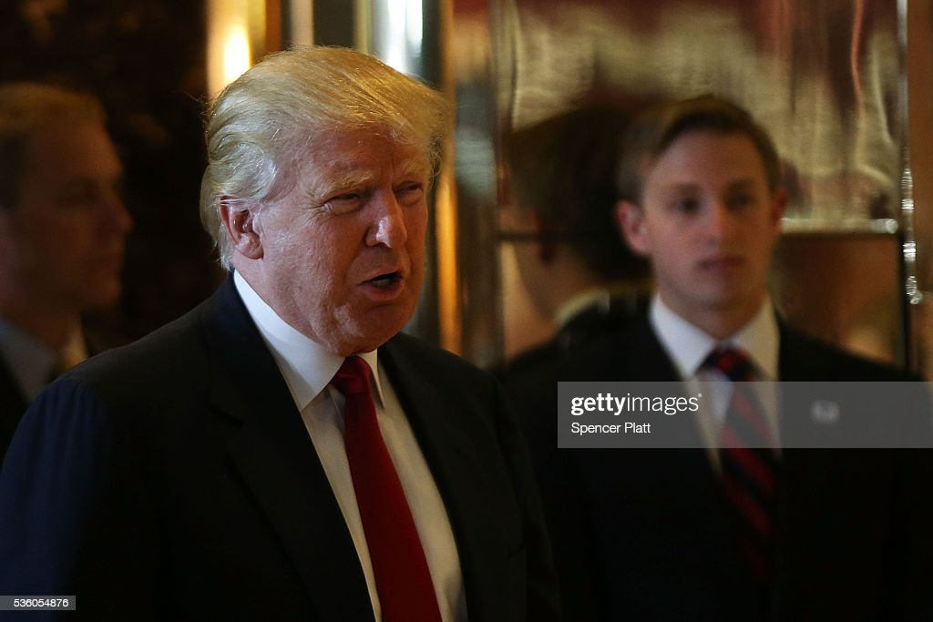 Republican presidential candidate Donald Trump enters a news conference at Trump Tower where he addressed issues about the money he pledged to donate to veterans groups following a skipped a debate in January before the Iowa caucuses on May 31, 2016 in New York City. Trump had previously said he had raised $6 million at the nationally broadcast fund-raiser he attended instead of the debate and that he would donate it all to veterans groups.