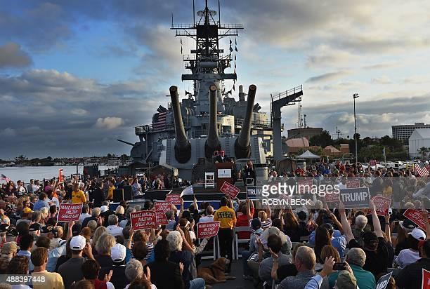 Republican presidential candidate Donald Trump gives a speech aboard the World War II Battleship USS Iowa September 15 in San Pedro California AFP...