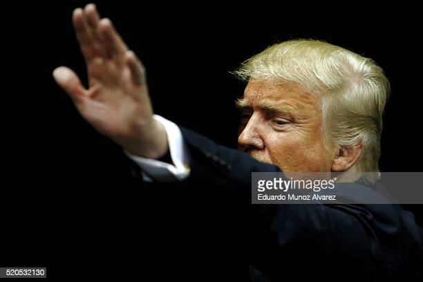 Republican presidential candidate Donald Trump greets supporters after speaking at a campaign rally on April 11 2016 in Albany New York The New York...