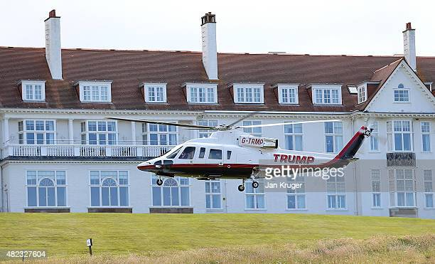 Republican Presidential Candidate Donald Trump helicopter transports him to visit his Scottish golf course Turnberry on July 30 2015 in Ayr Scotland...