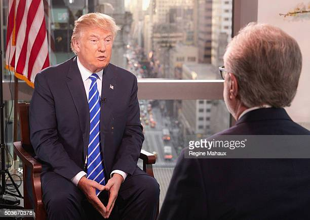 Republican Presidential Candidate Donald Trump interviewed by journalist Wolf Blitzer for The Situation Room on CNN on January 6 2016 in New York City
