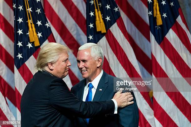 Republican presidential candidate Donald Trump introduces his newly selected vice presidential running mate Mike Pence governor of Indiana during an...