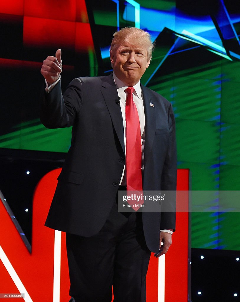 Republican presidential candidate Donald Trump is introduced during the CNN presidential debate at The Venetian Las Vegas on December 15, 2015 in Las Vegas, Nevada. Thirteen Republican presidential candidates are participating in the fifth set of Republican presidential debates.