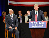 Republican presidential candidate Donald Trump leads a town hall style meeting with Republican vice presidential candidate Mike Pence at a campaign...