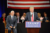 Republican presidential candidate Donald Trump leads a town hall style meeting with Republican vice presidential candidate Mike Pence during a...