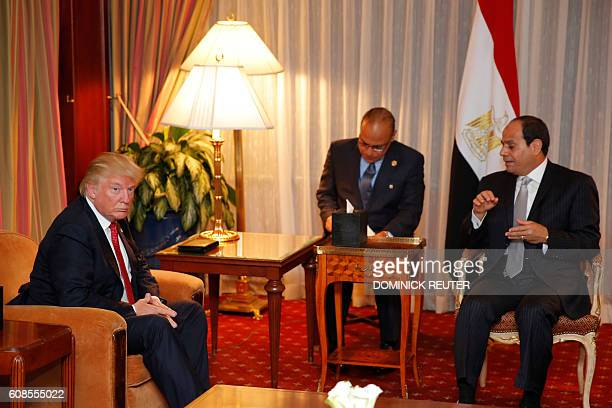 Republican presidential candidate Donald Trump meets with Egyptian President Abdel Fattah elSisi at the Plaza Hotel on September 19 2016 in New York...