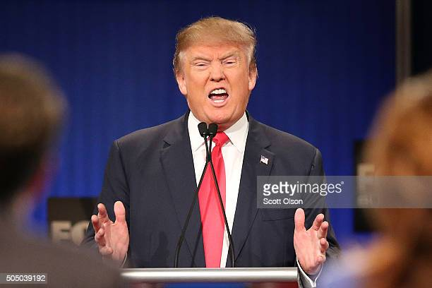 Republican presidential candidate Donald Trump participates in the Fox Business Network Republican presidential debate at the North Charleston...