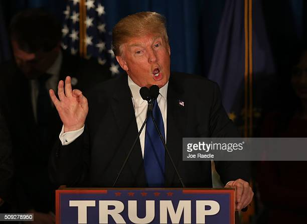 Republican presidential candidate Donald Trump speaks after Primary day at his election night watch party at the Executive Court Banquet facility on...