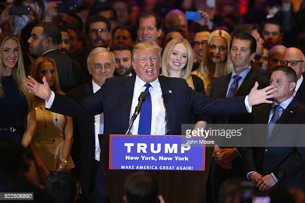 Republican Presidential candidate Donald Trump speaks after winning the New York state primary on April 19 2016 in New York City Trump held the press...