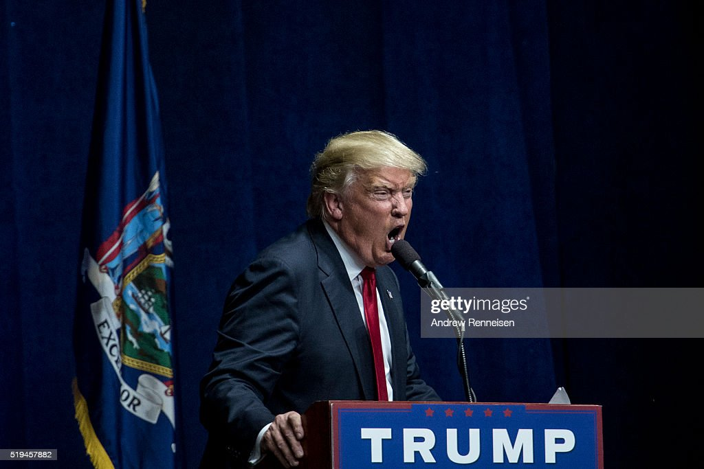 Republican Presidential Candidate Donald Trump speaks at a campaign rally on April 6, 2016 in Bethpage, New York. The rally comes ahead of the April 15 New York primary.