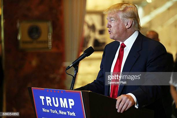 Republican presidential candidate Donald Trump speaks at a news conference at Trump Tower where he addressed issues about the money he pledged to...