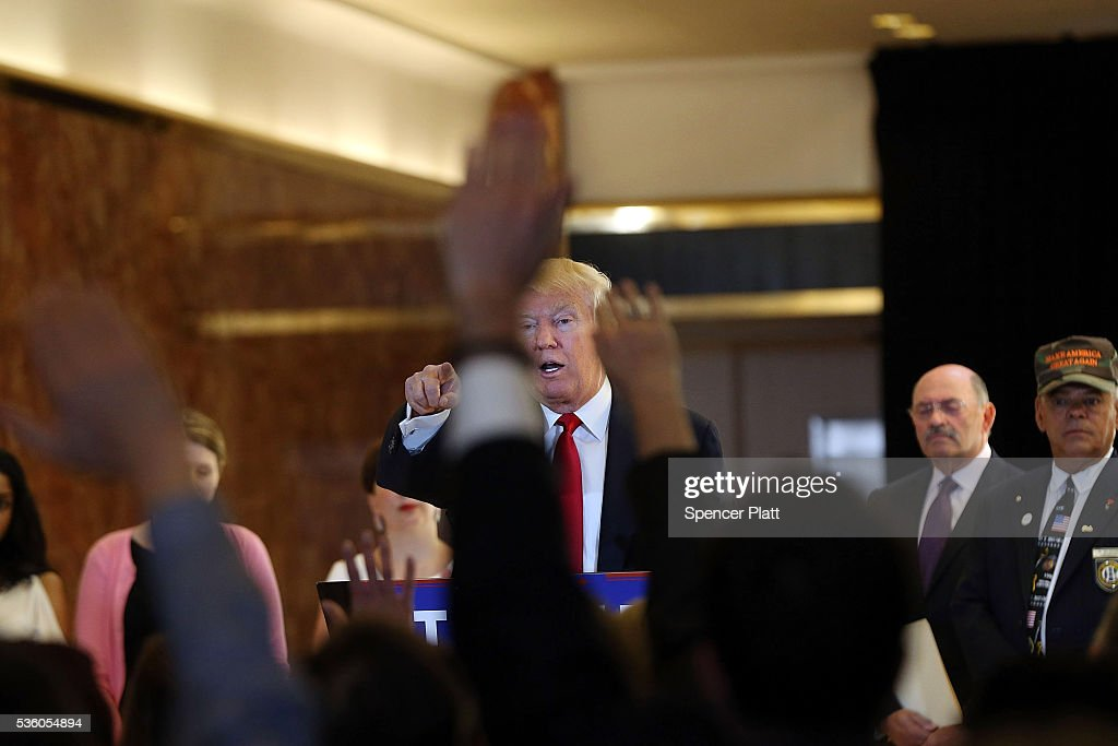 Republican presidential candidate Donald Trump speaks at a news conference at Trump Tower where he addressed issues about the money he pledged to donate to veterans groups following a skipped a debate in January before the Iowa caucuses on May 31, 2016 in New York City. Trump had previously said he had raised $6 million at the nationally broadcast fund-raiser he attended instead of the debate and that he would donate it all to veterans groups.
