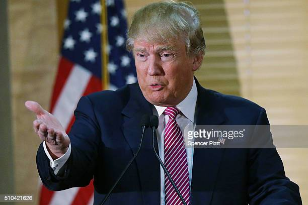 Republican Presidential candidate Donald Trump speaks at a news conference on February 15 2016 in Hanahan South Carolina Trump answered questions...
