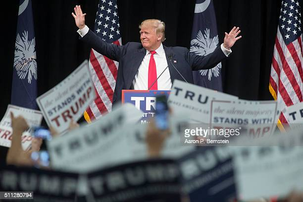 Republican presidential candidate Donald Trump speaks at a rally February 19 2016 in Myrtle Beach South Carolina Trump is campaigning throughout...