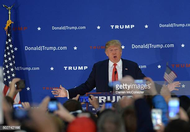Republican Presidential candidate Donald Trump speaks at a rally at Pennichuck Middle School December 28 2015 in Nashua New Hampshire Trump has seen...