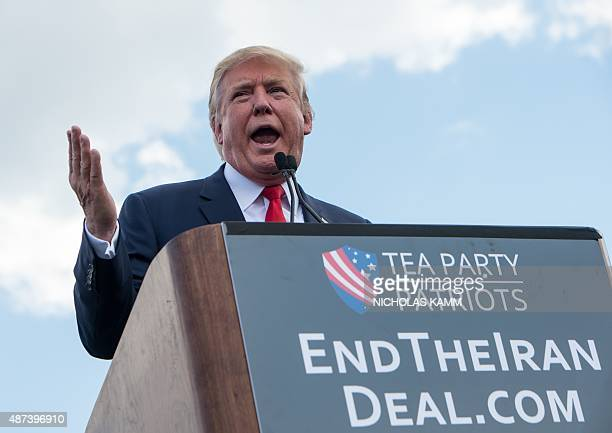 US Republican presidential candidate Donald Trump speaks at a rally organized by the Tea Party Patriots against the Iran nuclear deal in front of the...