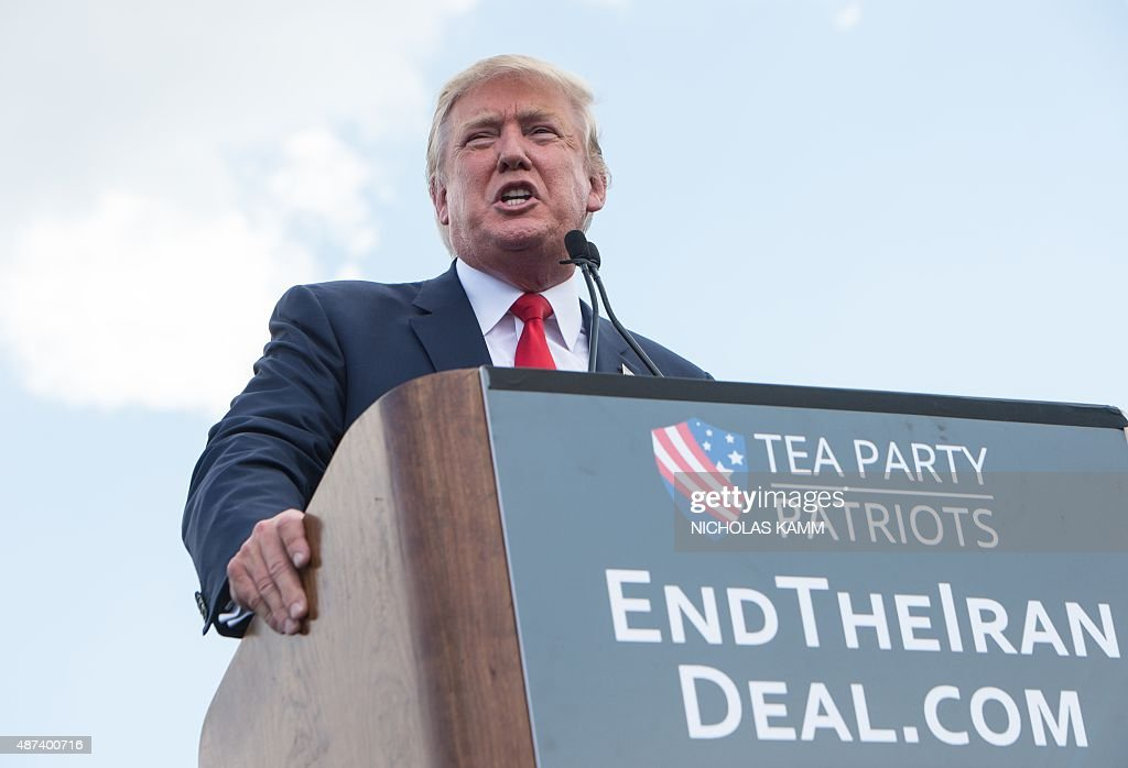 US Republican presidential candidate Donald Trump speaks at a rally organized by the Tea Party Patriots against the Iran nuclear deal in front of the Capitol in Washington, DC, on September 9, 2015.