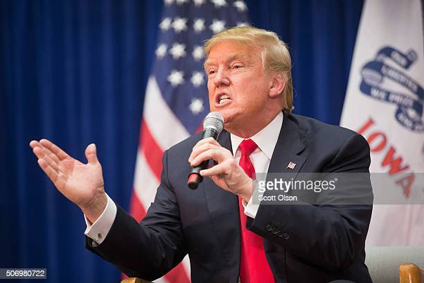 Republican presidential candidate Donald Trump speaks at a rally on January 26 2016 in Marshalltown Iowa Sheriff Joe Arpaio the antiimmigration...