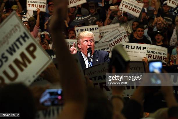 Republican presidential candidate Donald Trump speaks at a rally on May 25 2016 in Anaheim California The presumptive Republican presidential...