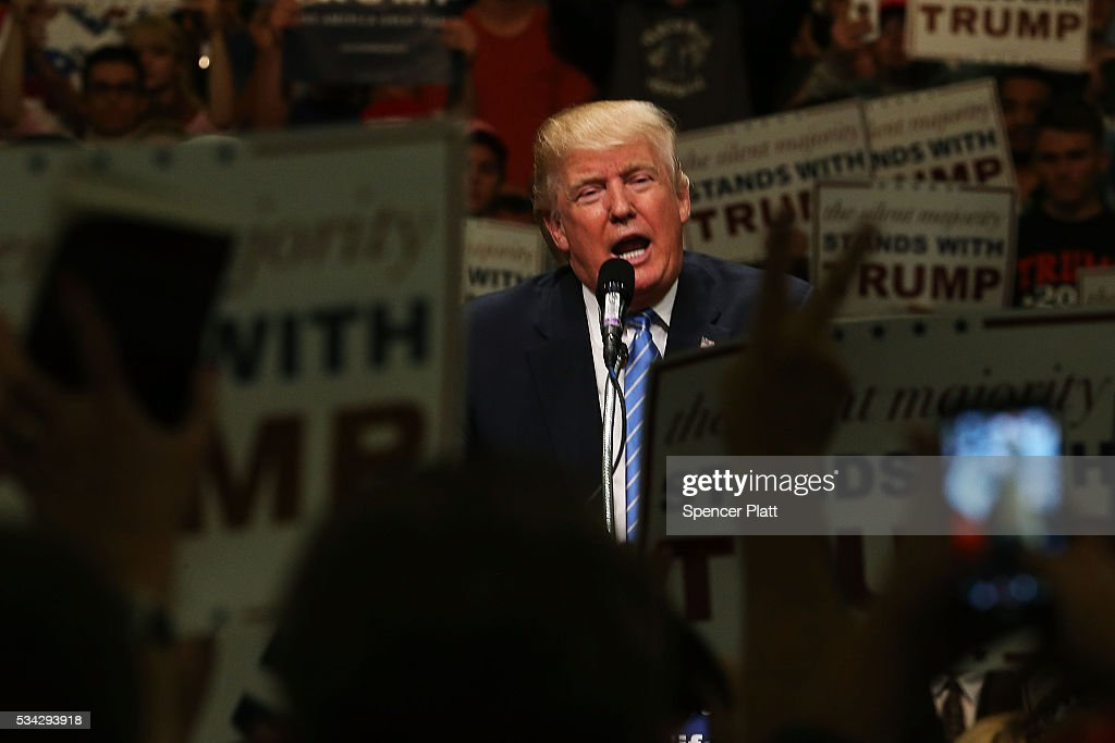 Republican presidential candidate Donald Trump speaks at a rally on May 25, 2016 in Anaheim, California. The presumptive Republican presidential candidate is on a Western campaign swing. A rally in Albuquerque, New Mexico turned violent on Tuesday, leading to at least one arrest and several injuries, police say.