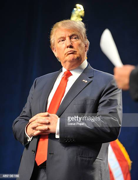Republican Presidential Candidate Donald Trump speaks at the Iowa Faith Freedom Coalition 15th Annual Family Banquet and Presidential Forum held at...