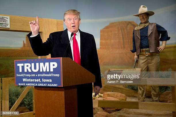 Republican presidential candidate Donald Trump speaks at the John Wayne Birthplace Museum on January 19 2016 in Winterset Iowa Trump received the...